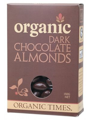 ORGANIC TIMES Dark Choc Almonds 150g