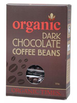 ORGANIC TIMES Dark Choc Coffee Beans 150g