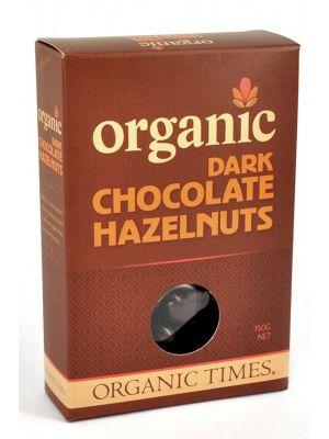 ORGANIC TIMES Dark Choc Hazelnuts 150g
