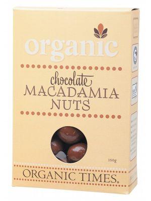 ORGANIC TIMES Milk Choc Macadamias 150g