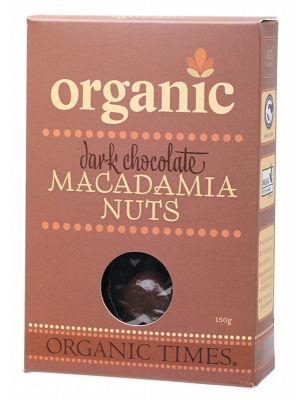 ORGANIC TIMES Dark Choc Macadamias 150g