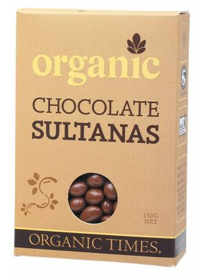 ORGANIC TIMES Chocolate Sultanas Milk Chocolate 150g