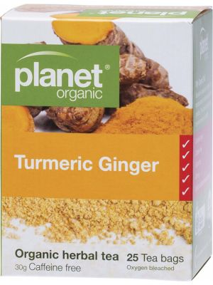 PLANET ORGANIC Herbal Tea Bags Turmeric Ginger 25