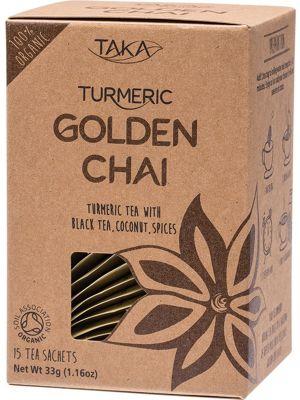 TAKA TURMERIC Golden Chai Tea Sachets Turmeric & Coconut Tea Blend 15
