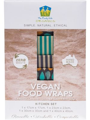 THE FAMILY HUB ORGANICS Vegan Food Wraps - Kitchen Set 1 X Small, Medium, Large & XL 4