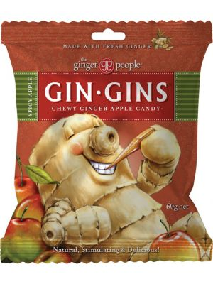 THE GINGER PEOPLE Gin Gins Ginger Candy Bag Chewy - Spicy Apple 60g