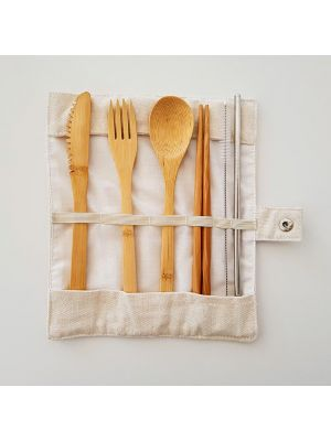 Travel Cutlery Set - Cream