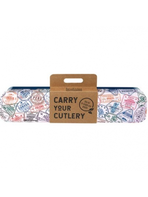 RETROKITCHEN Carry Your Cutlery - Passport Stamps Stainless Steel Cutlery Set