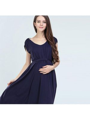 Maxi Nursing Maternity Dress with Side Zips