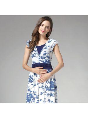 High Waist Porcelain Floral Maternity Nursing Dress