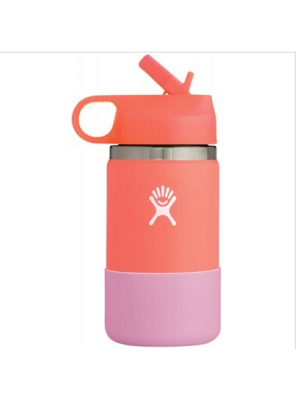 HYDRO FLASK Wide Mouth Kids Bottle - Straw Lid Double Insulated - Hibiscus 354ml