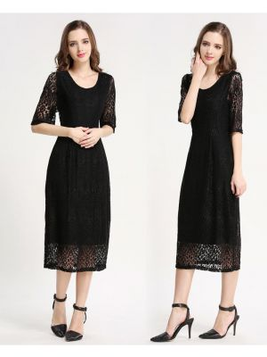 Lace Midi Dress Nursing Maternity Evening Wear