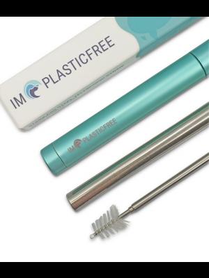 IMPLASTICFREE Reusable Telescopic Stainless Steel Straw – Turquoise Ocean