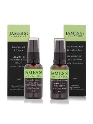 James St Organics Duo Pack Vitamin C Brightening Serum & Hyaluronic Acid Serum