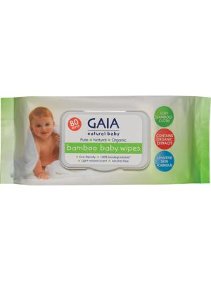 Gaia Natural Baby Bamboo Baby Wipes 80 pack